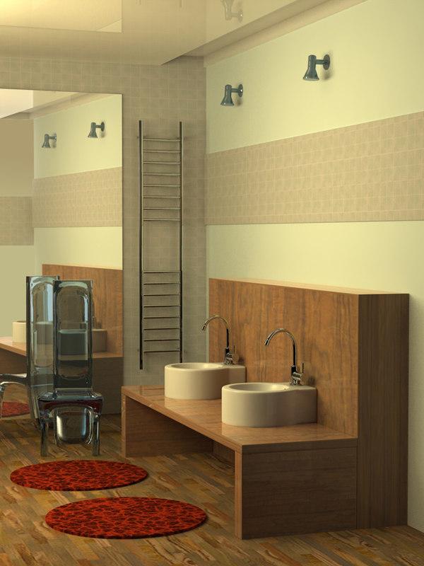 3d model bathroom room