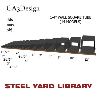 1 wall square tube 3d model