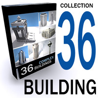 3d 36 buildings lightened texturing model