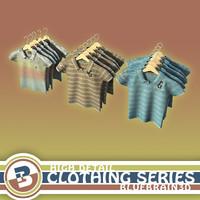 hung polo shirts clothing 3d model