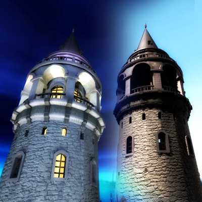 galata tower day night time 3d 3ds