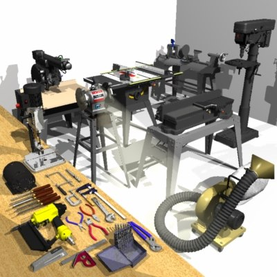 3ds max comprehensive woodshop machine tool