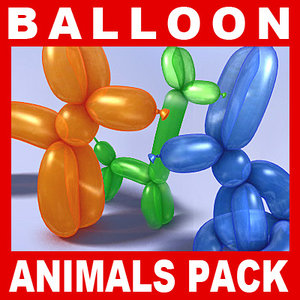 balloons animal modeled 3d 3ds