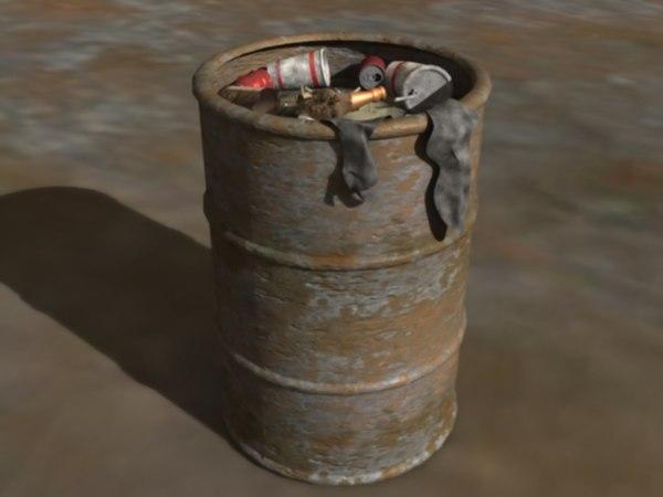 trash garbage cans 3d model