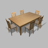 polygonal table chair 3d model