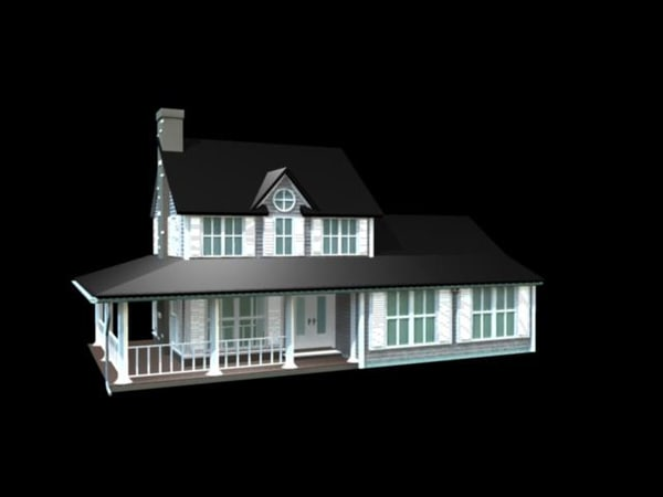 3d model colonial house