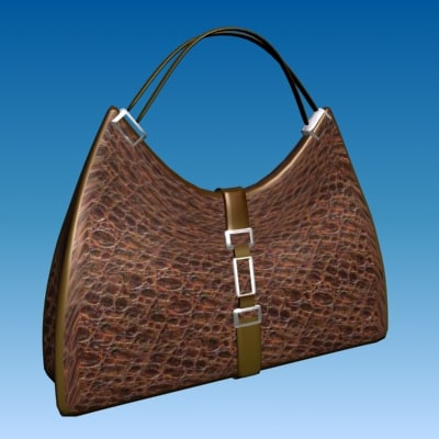 3ds max designer bag - brown leather