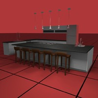 kitchen set01 light fixtures 3d model