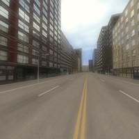 3d city scene street model