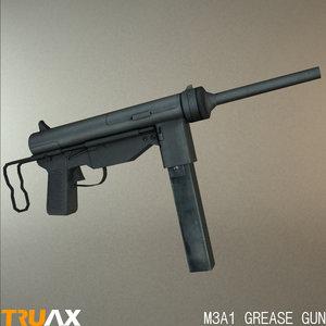 american m3a1 grease gun 3d max
