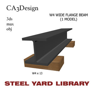 w4 wide flange beam 3d max