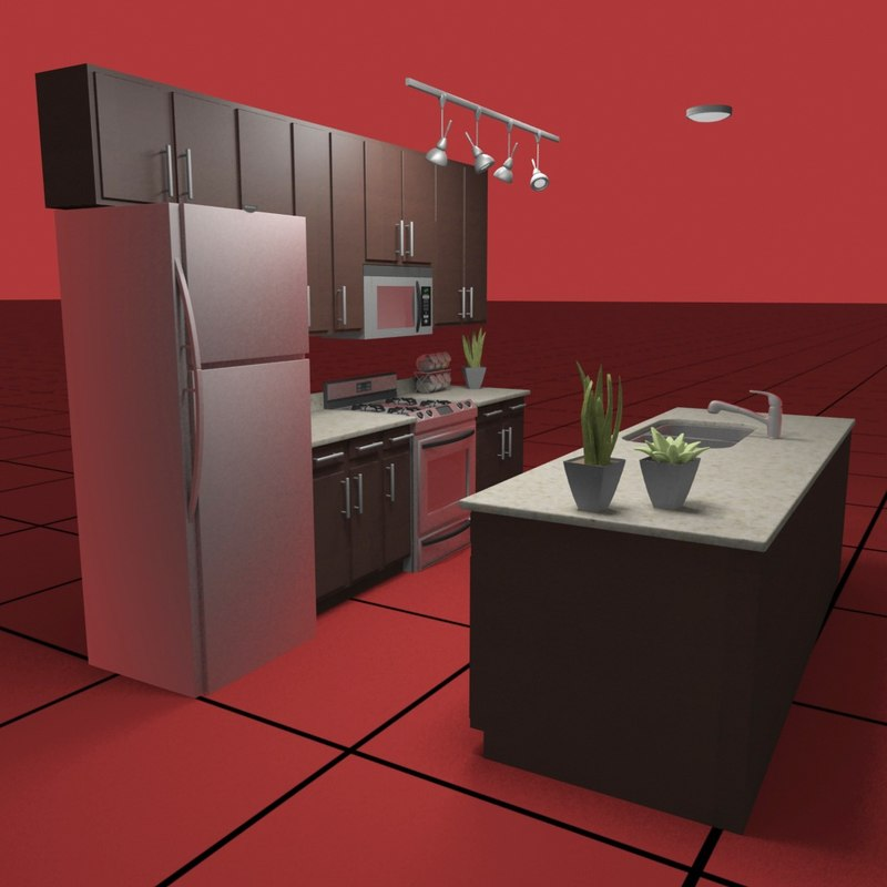 kitchen set04 light fixtures 3d model