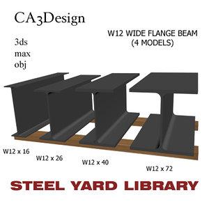 w12 wide flange beam 3d model