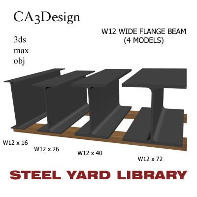w12 wide flange beam 3d model