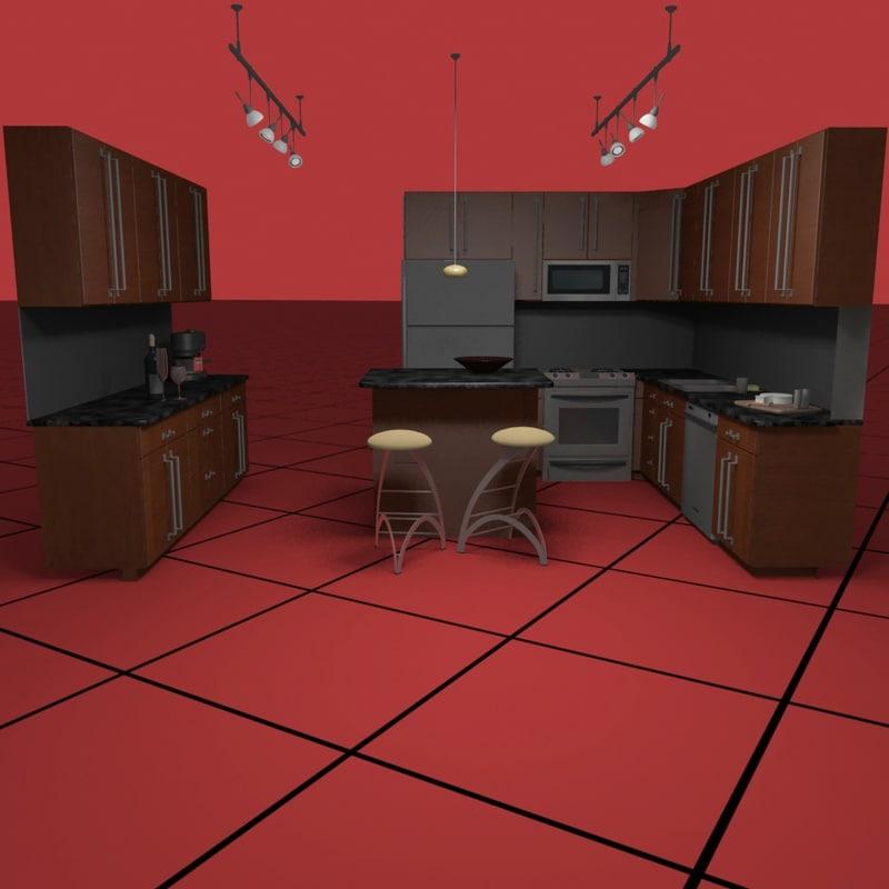 3ds kitchen set05 light fixtures