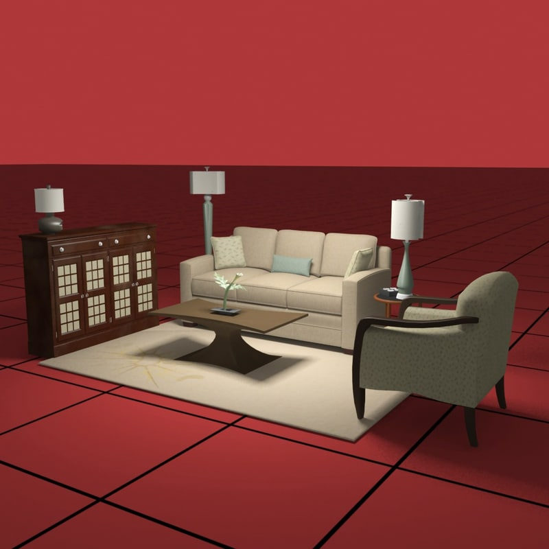 living furniture 3d dwg