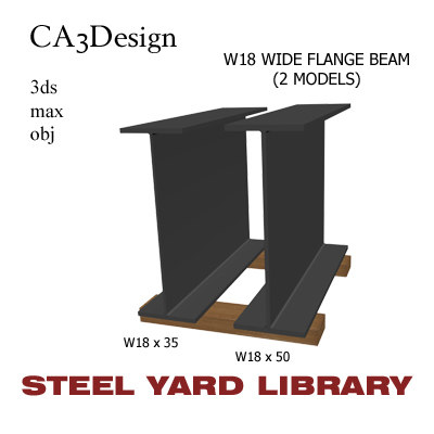 w18 wide flange beam 3d max