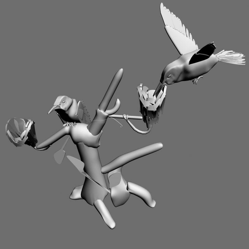 birds humming 3d ma