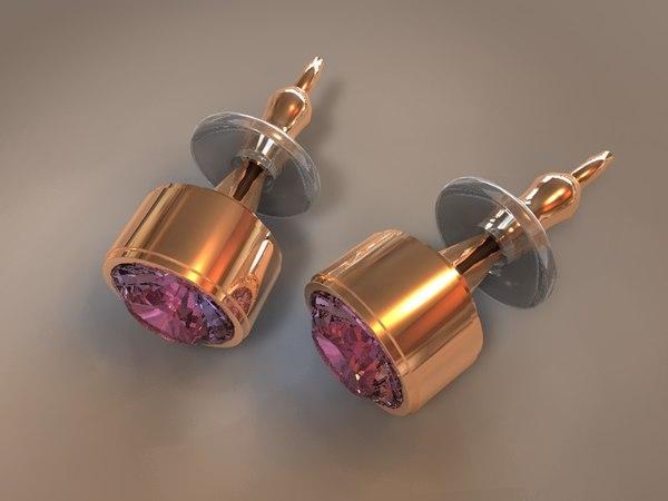gem stud earings 3d model