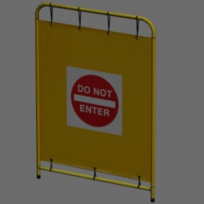 3ds max enter barrier sign