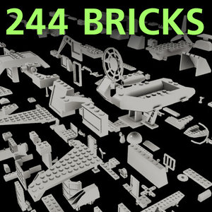 set lego bricks 3d model