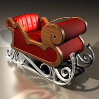 xmas sleigh santa clause obj