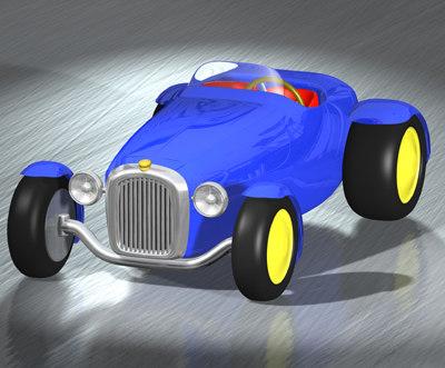3d vintage car cartoon model