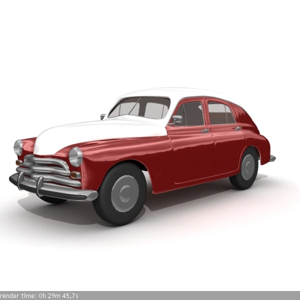 russian antique car gaz-20 3d model