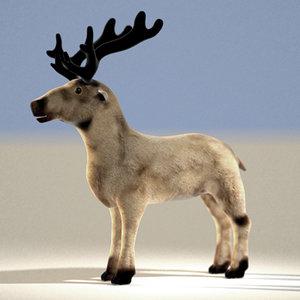 reindeer rudolph santas 3d model