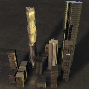3d buildings skyscrapers cityscape model