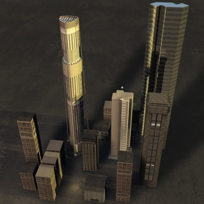 3d buildings skyscrapers cityscape model
