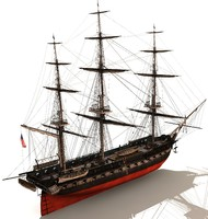 uss constitution ship 3d model