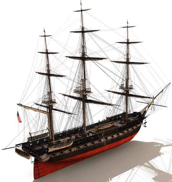 uss constitution ship 3d model