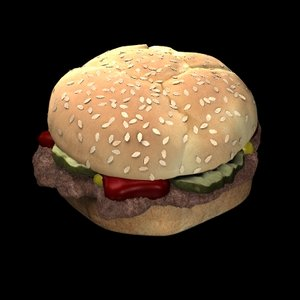 3d hamburger mustard pickles food