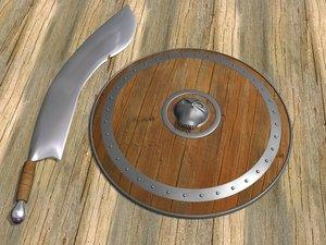 3d model shield scimitar