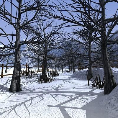 3d winter forest environment