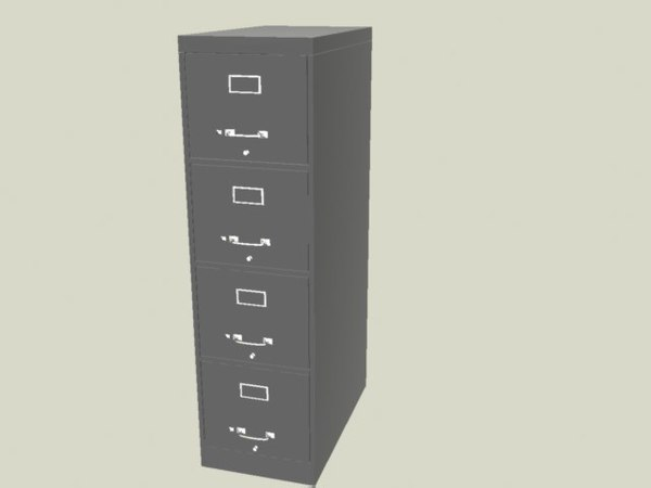 3d model tall metal file cabinet