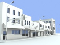 Line of shops and 4 storey building