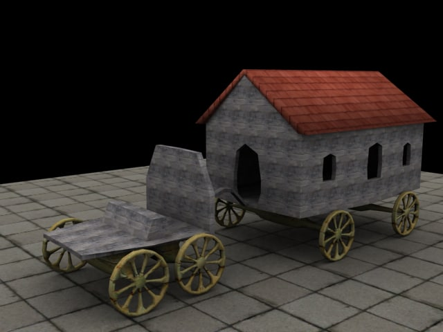 3d wagon medieval model