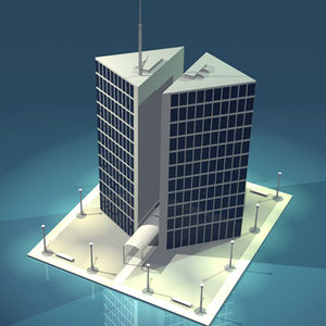3d stilized city office building
