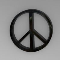 symbol peace 3d obj