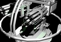 3d gattling gun turret model