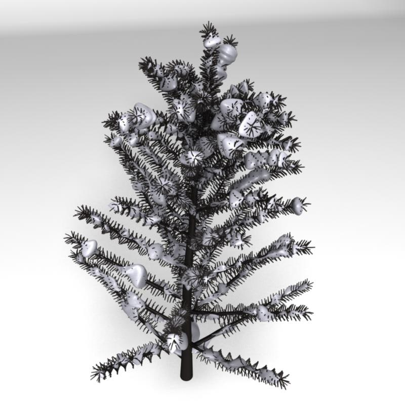 realistic tree snow 3d obj