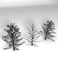 3d model realistic set trees snow