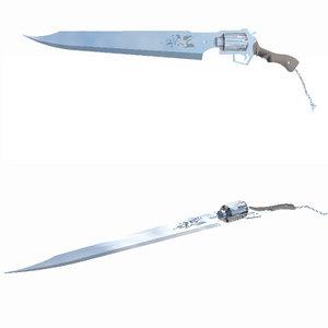 squall gunblade sword gun 3d model