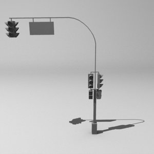 low-poly traffic light 3d 3ds