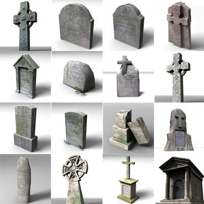 3d model of gravestone grave stone