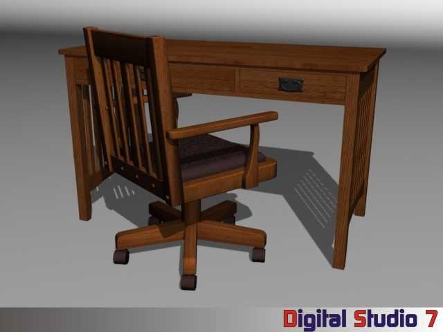 mission desk chair 3d model