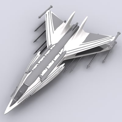 3d space craft fighter model