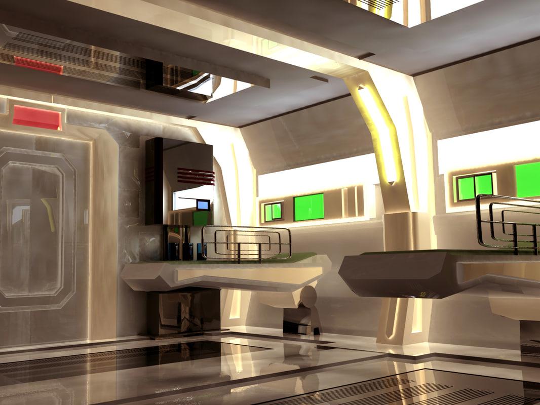 sci fi room 3d model